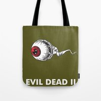 evil dead Tote Bags featuring Evil Dead 2 - Green by Dukesman