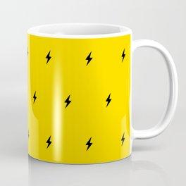 Black Lightning Bolt pattern on Yellow background Coffee Mug