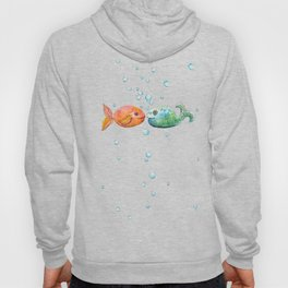 Against the flow - Colorful fish pattern painting Hoody