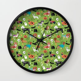 Dogs halloween costumes cute pumpkin ghost skeleton witch trick or treat Wall Clock