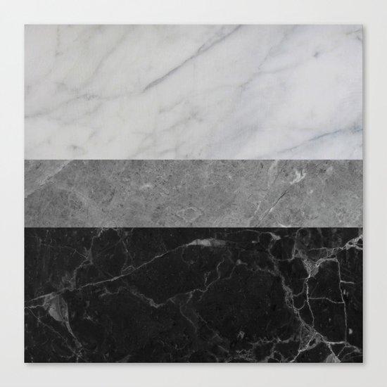 Marble - White, Grey, Black Canvas Print