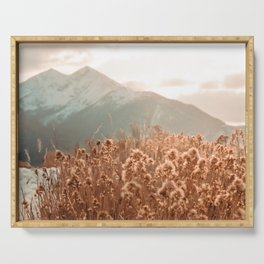 Golden Wheat Mountain // Yellow Heads of Grain Blurry Scenic Peak Serving Tray