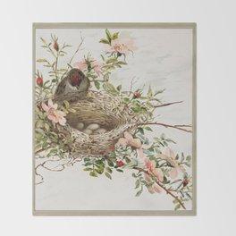 Vintage Bird with Eggs in Nest Throw Blanket