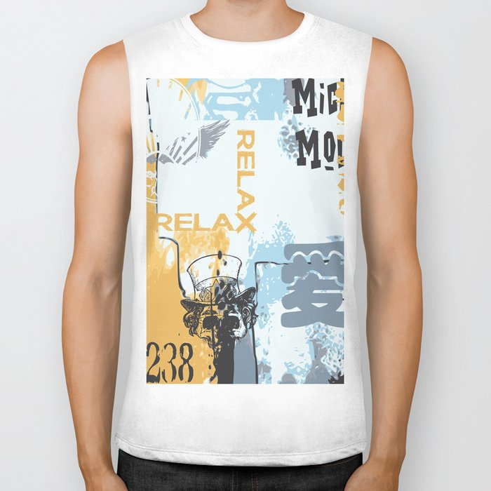 Random abstract typography street art Biker Tank
