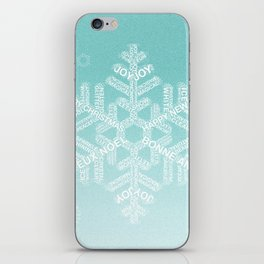 Typographic Snowfake Greetings - Ombre Teal iPhone Skin