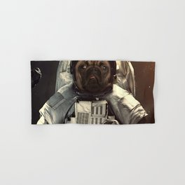 Pug dog astronaut in the universe Hand & Bath Towel