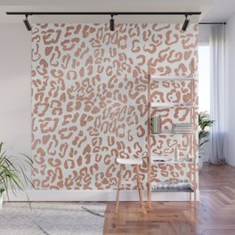 Modern Hipster Girly Faux Rose Gold Foil Leopard Animal Print Wall Mural