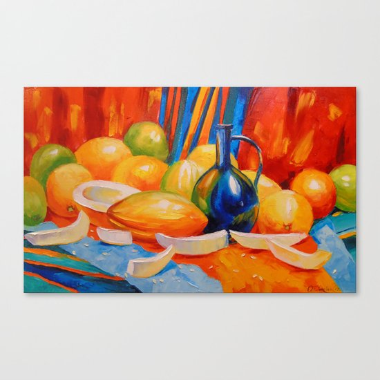 Still life with melon Canvas Print