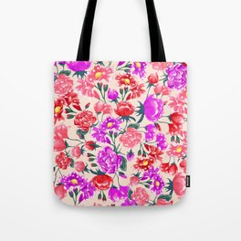 Floral - Pink & Red Tote Bag
