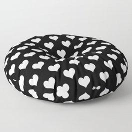 Black White Hearts Minimalist Floor Pillow
