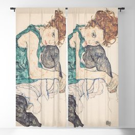 SEATED WOMAN WITH BENT KNEE - EGON SCHIELE Blackout Curtain