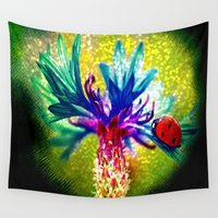 ladybug Wall Tapestries featuring ladybug by haroulita