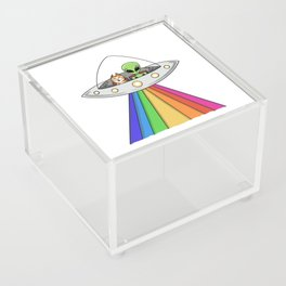 Ali and Cat in Space Saucer by Silvana Arias Acrylic Box
