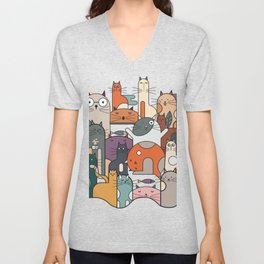 Cats Illustration Unisex V-Neck