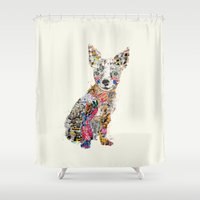 mod Shower Curtains featuring the mod chihuahua by bri.buckley