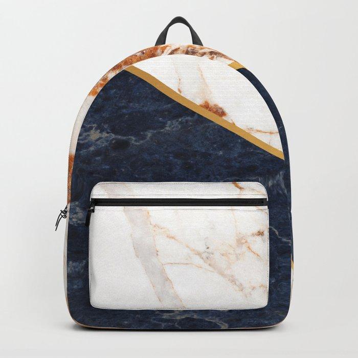 Classy Elegant White Blue Gold Marble Backpack