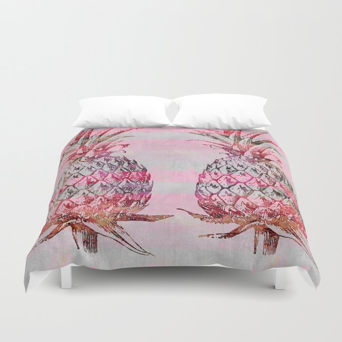 pink pineapple graphic mixed media art Duvet Cover