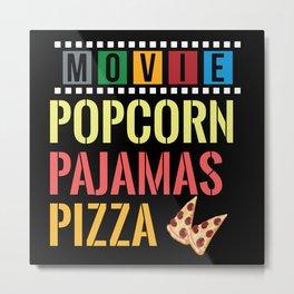 Movie Popcorn Pijamas Pizza Metal Print