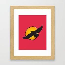 Sun and Bird Flying Red Framed Art Print