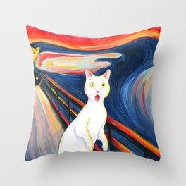 Cat surprise Throw Pillow