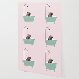 Hippo Enjoying Bubble Bath Wallpaper