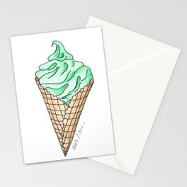 Mint Ice Cream Cone Stationery Cards