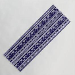 White and Navy Blue Elephant Pattern Yoga Mat