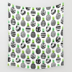 Black & White Pineapples Wall Tapestry