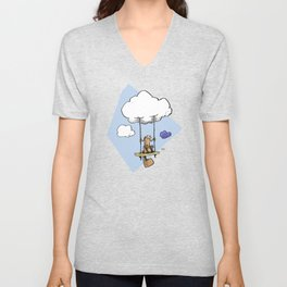 Squirrel swinging on a cloud Unisex V-Neck