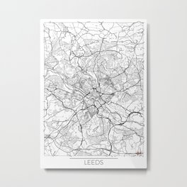 Leeds Map White Metal Print