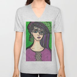 Girl with Veil Unisex V-Neck