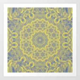 Dusty blue and yellow mandala Art Print