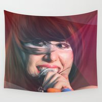 karen hallion Wall Tapestries featuring Karen O by Camila Fernandez