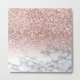 Sparkle - Glittery Rose Gold Marble Metal Print