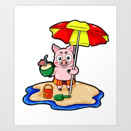 Beach Piggy Pig Piglet swimming trunks Holiday Art Print
