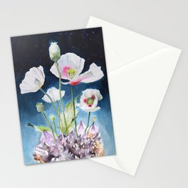 Papaver Somniferum and Amethyst Crystal on a Stary Night at Dawn Stationery Cards