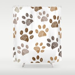Brown colored paw print background Shower Curtain