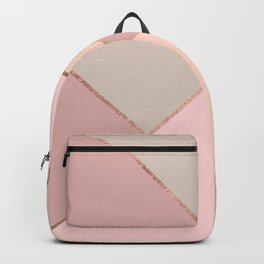 Modern rose gold peach blush pink color block Backpack