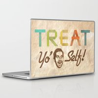 treat yo self Laptop & iPad Skins featuring Treat Yo' Self by See No Evil