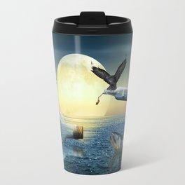 Bottle Ship in trouble Travel Mug