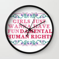 equality Wall Clocks featuring EQUALITY by Hoeroine