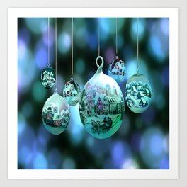 Christmas Bulbs in Blue Art Print