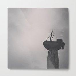 Ship in Grey Metal Print