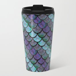 Opalescent Mermaid Scale Stripes Travel Mug