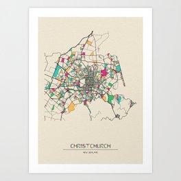 Colorful City Maps: Christchurch, New Zealand Art Print