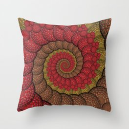 Red and Orange Hippie Fractal Pattern Throw Pillow