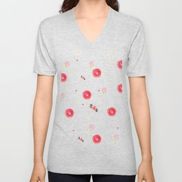 Watercolor Pink Flower Pattern Home Decor Roses Wall Decor Unisex V-Neck