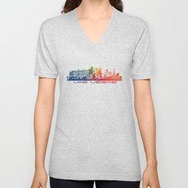 Las Vegas skyline color Unisex V-Neck