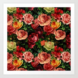 Vintage & Shabby chic - floral roses flowers rose Art Print
