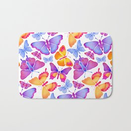 Colorful Butterfly Watercolor Bath Mat